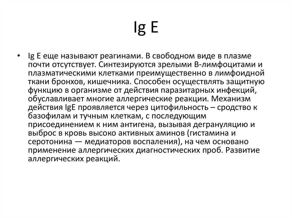 Механизм действия IG E